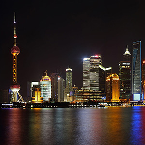Illuminated Skyscrapers of the Shanghai Skyline, Long Exposure, The Bend, China, Asia