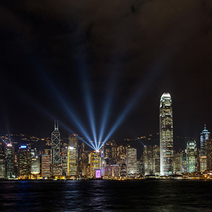 Skyline with Laser Light Show, Long Exposure, Kowloon, Hongkong, China, Asia