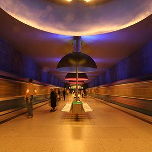 Westfriedhof Metro Railway Station with incoming trains, Munich, Bavaria, Germany, Europe