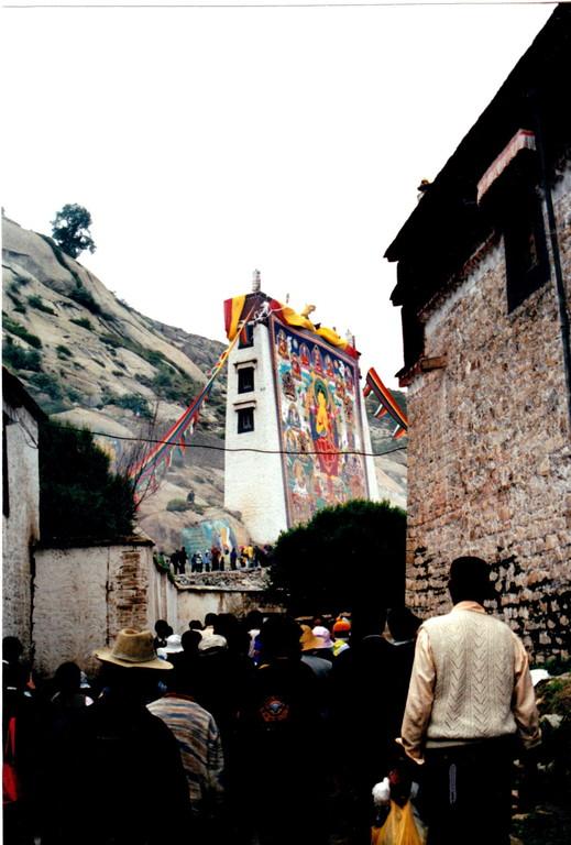 Xigatse monastero Labulenshi Thangka e fedeli