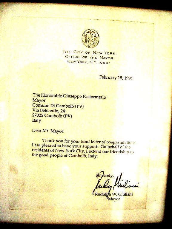Lettera di Rudolph Giuliani, Sindaco di New York