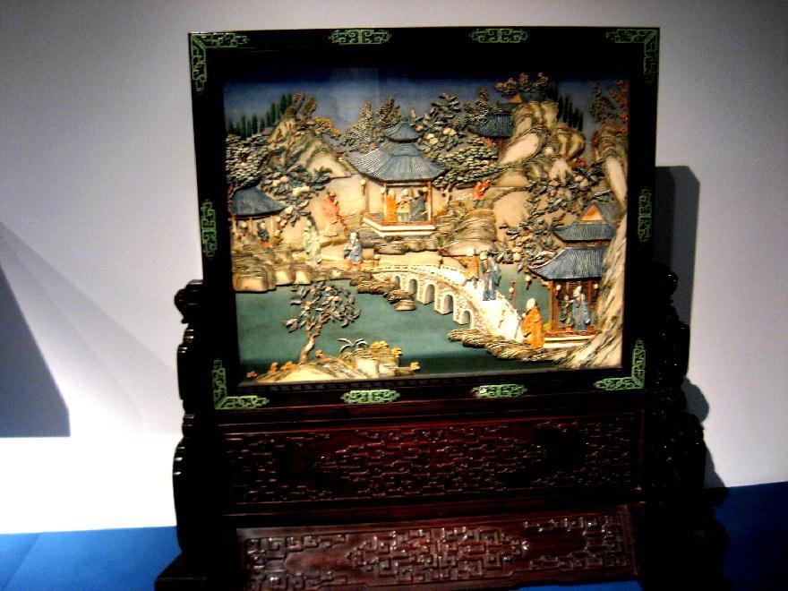 dinastia Qing - schermo avorio e giada