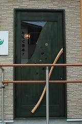 グリーン 美容室 木製ドア 店舗用