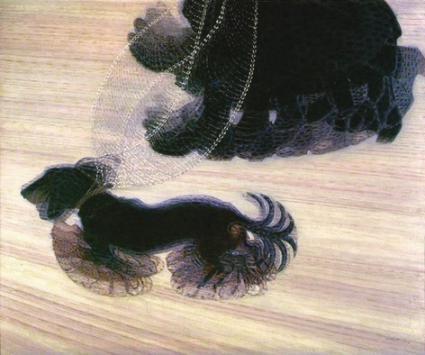 Dynamisme d'un chien en laisse (1912)