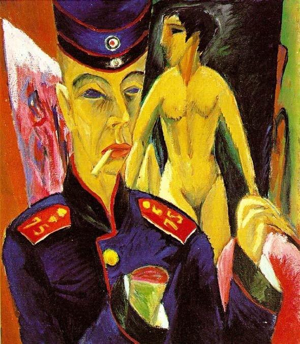 Autoportrait en soldat d'Ernst Ludwig Kirchner