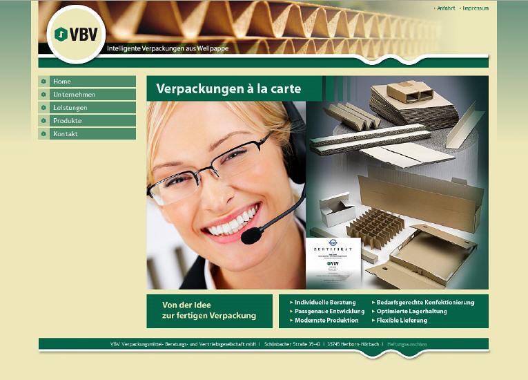 Konzeption und Entwicklung der Webseite der VBV Verpackungen GmbH