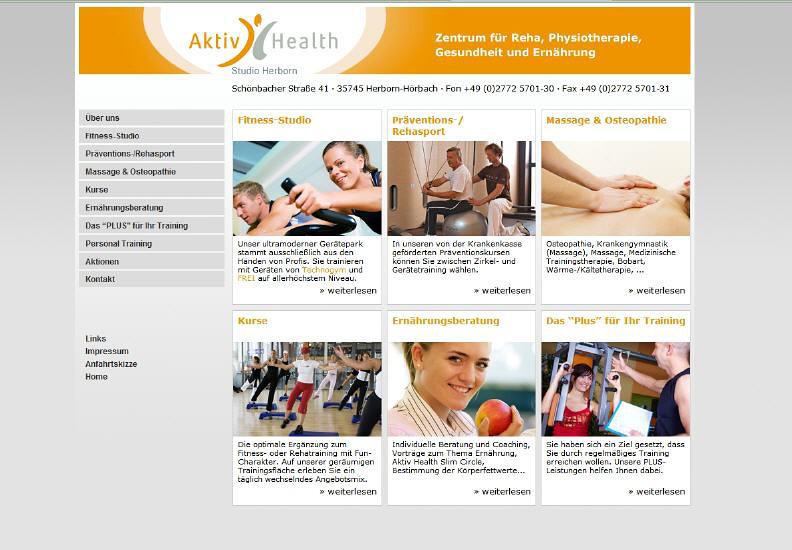 Konzeption und Entwicklung der Webseite der Aktiv Health GmbH