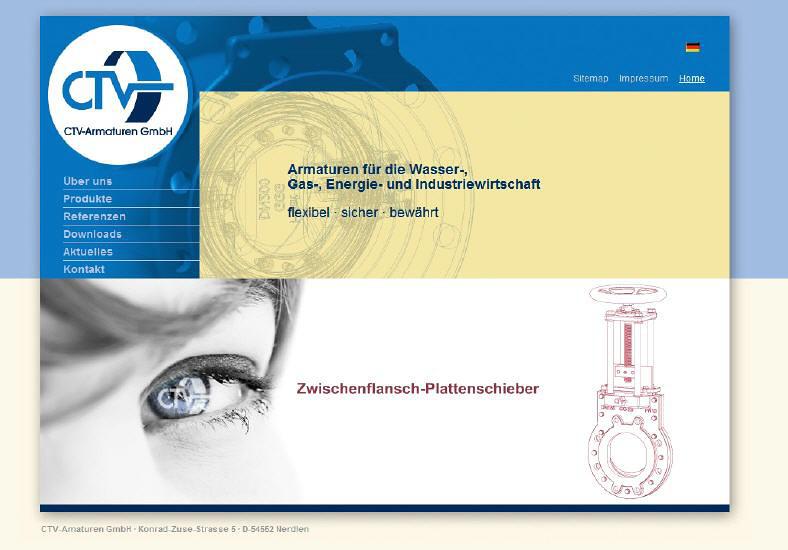 Konzeption und Entwicklung der Webseite der CTV-Armaturen GmbH