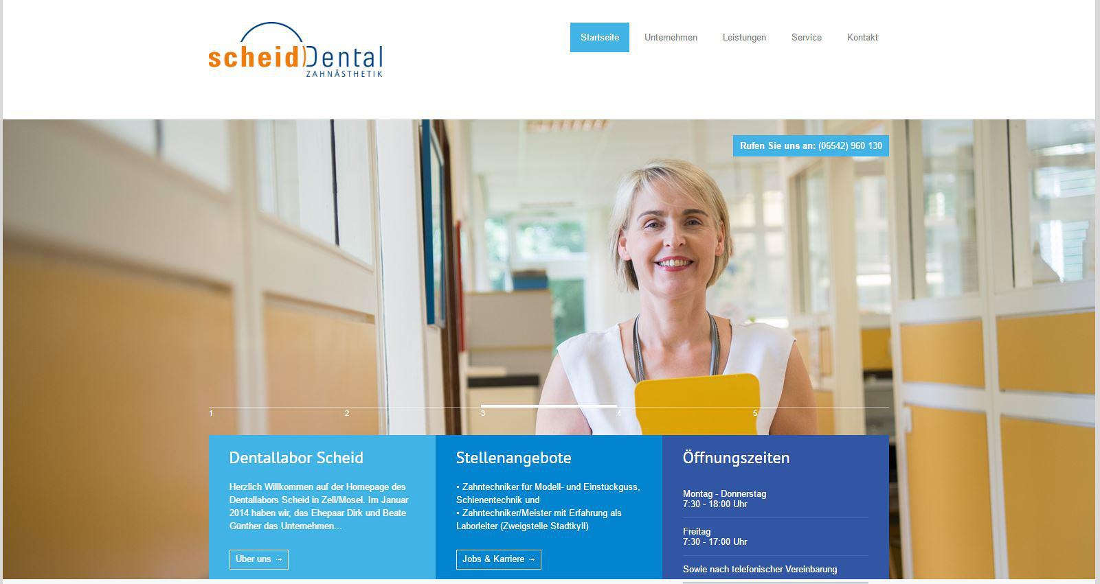 Konzeption und Entwicklung der Webseite der Dentallabor Scheid GmbH