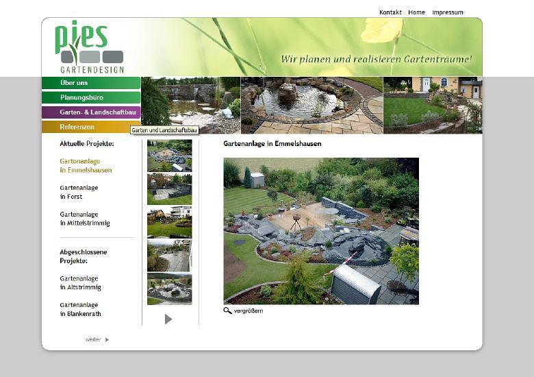Konzeption und Entwicklung der Webseite für Gartendesigner Pies