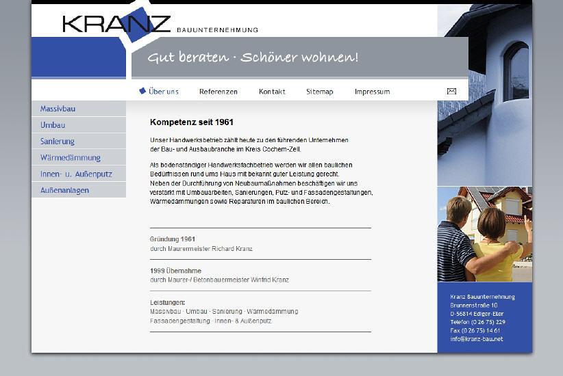 Konzeption und Entwicklung der Webseite der Kranz Bau GmbH