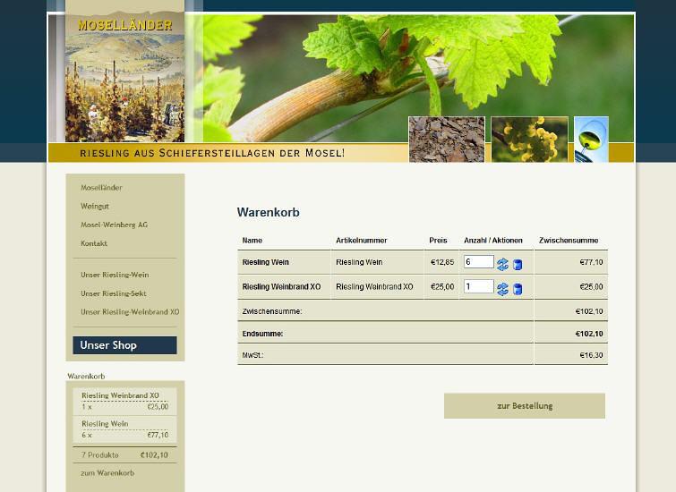 Konzeption einer Webseite für den Weinhandel (Shop)