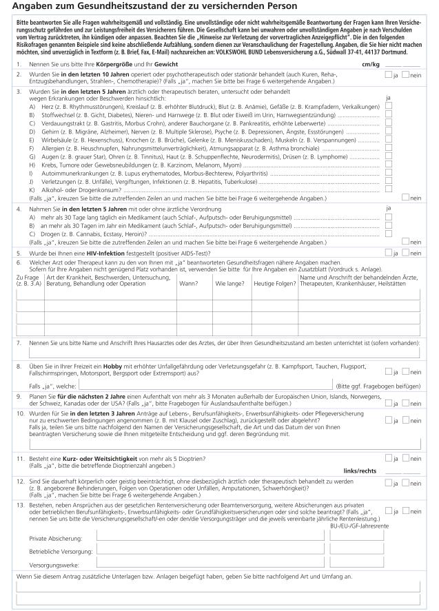 Gesundheitsfragen Berufsunfähigkeitsversicherung