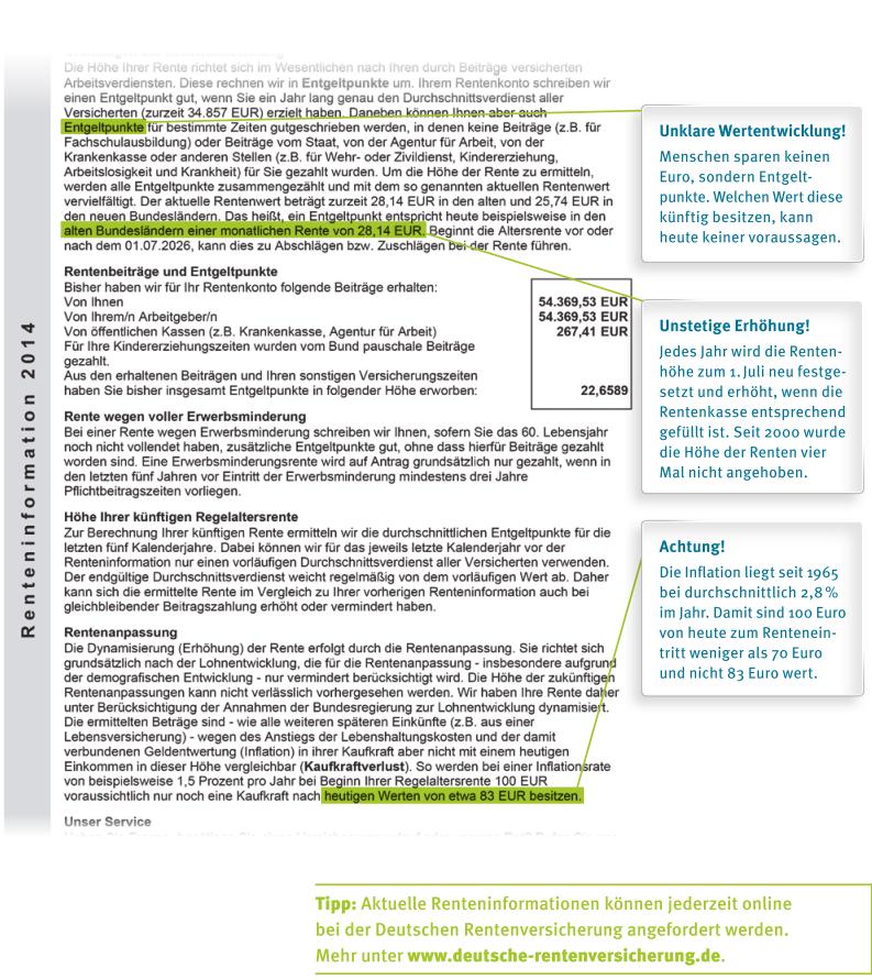 Muster jährliche Renteninformation der gesetzlichen Rentenversicherung mit Erklärungen