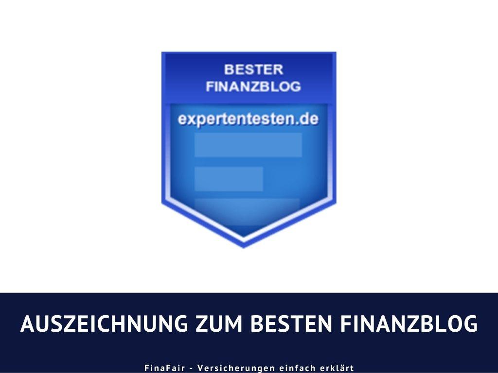 Auszeichnung von Expertentesten für den Versicherungsblog von FinaFair