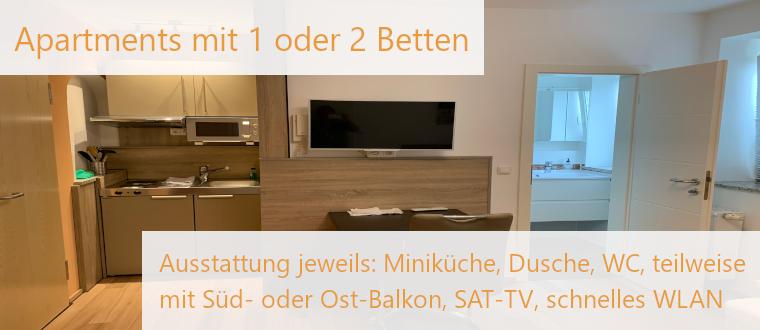 Elodie Serviced Apartments mit 1 oder 2 Betten /  Miniküche, Dusche, WC, teils Balkon, SAT-TV, schnelles WLAN