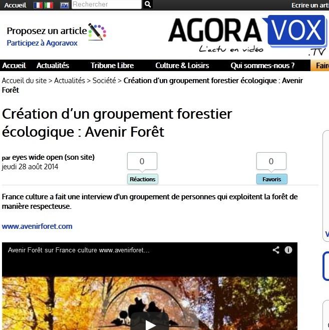 Article de agoravoxTV sur le groupement forestier Avenir Forêt