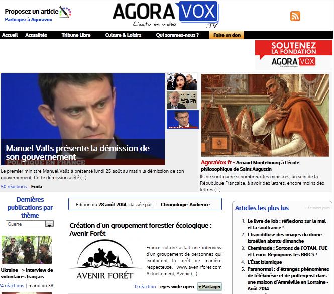 """La Une du site """"agoravoxTV"""" du 28 août 2014"""