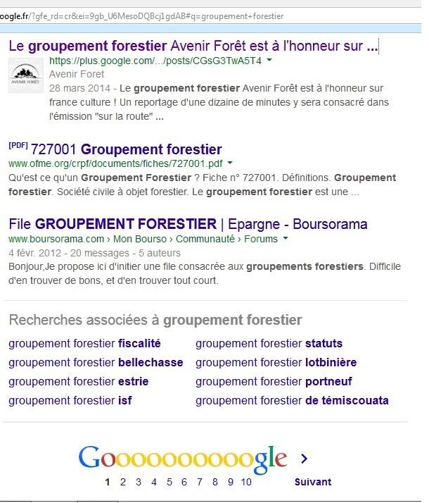 """Recherche Google pour """"groupement forestier"""""""