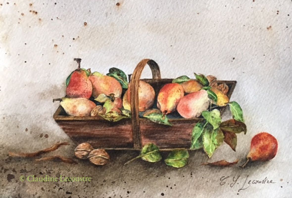 Panier de poires naines, aquarelle / watercolor