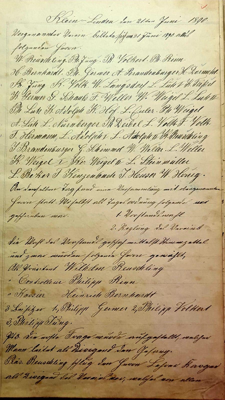 unsere Gründungsurkunde vom 21. Juni 1890
