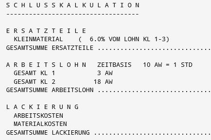 KV Kalkulation Schaden Kostenvoranschlag Rudolf Hübner Ges.m.b.H.