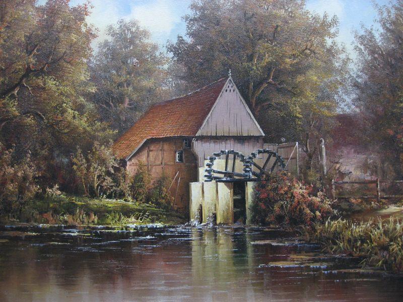 Aquarell der Wassermühle (Mitte 19. Jahrhundert)