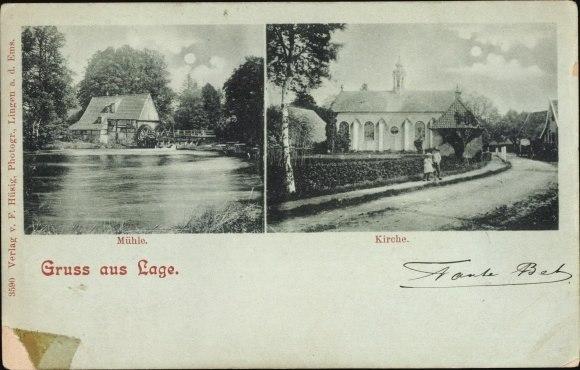 Alte Ansichte der Kirche und Wassermühle