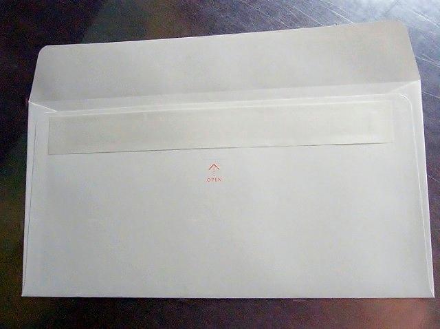 中身が透けない特殊用紙・ミシン目入り・口糊テープ付