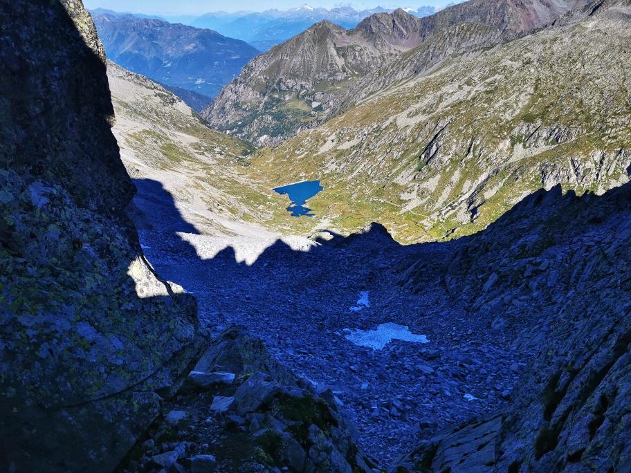 Ausblick am Passo Miller, unten am See war mein Start am Rifugio Gnutti