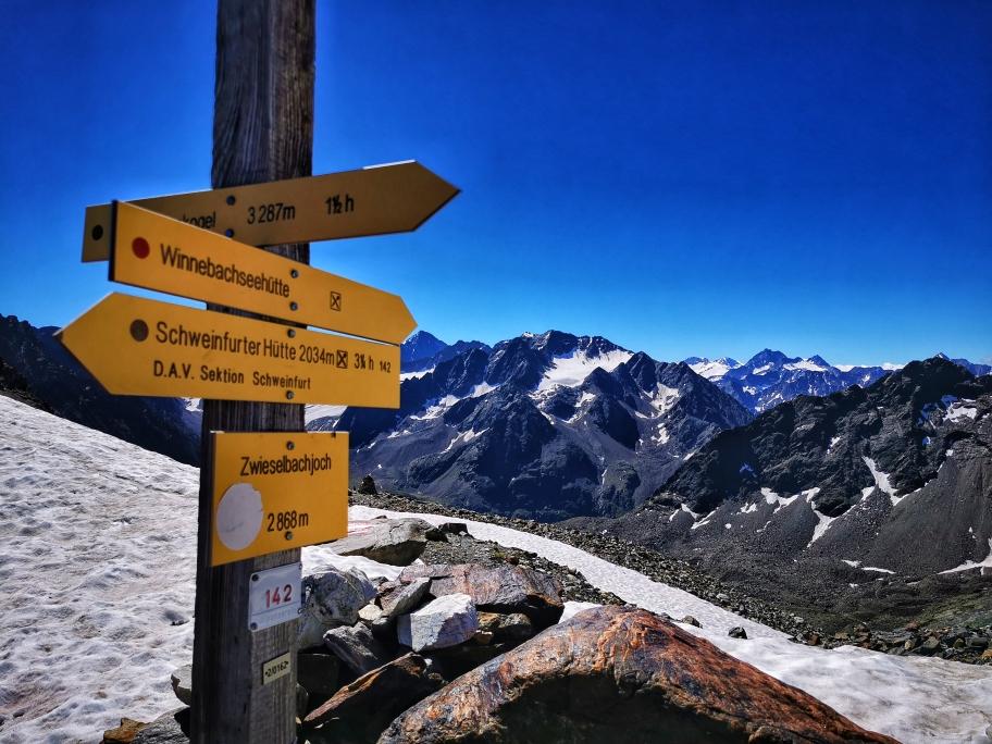 Am Zwieselbachjoch auf 2.868m, dem höchsten Punkt der heutigen Tour