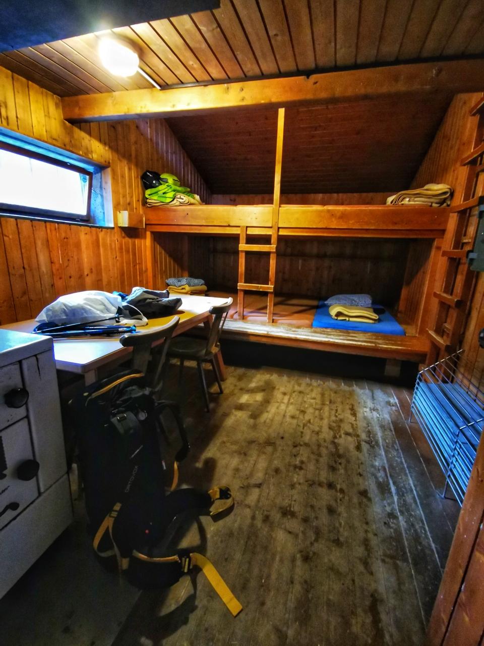 Der Winterraum der Winnebachseehütte ganz für mich alleine