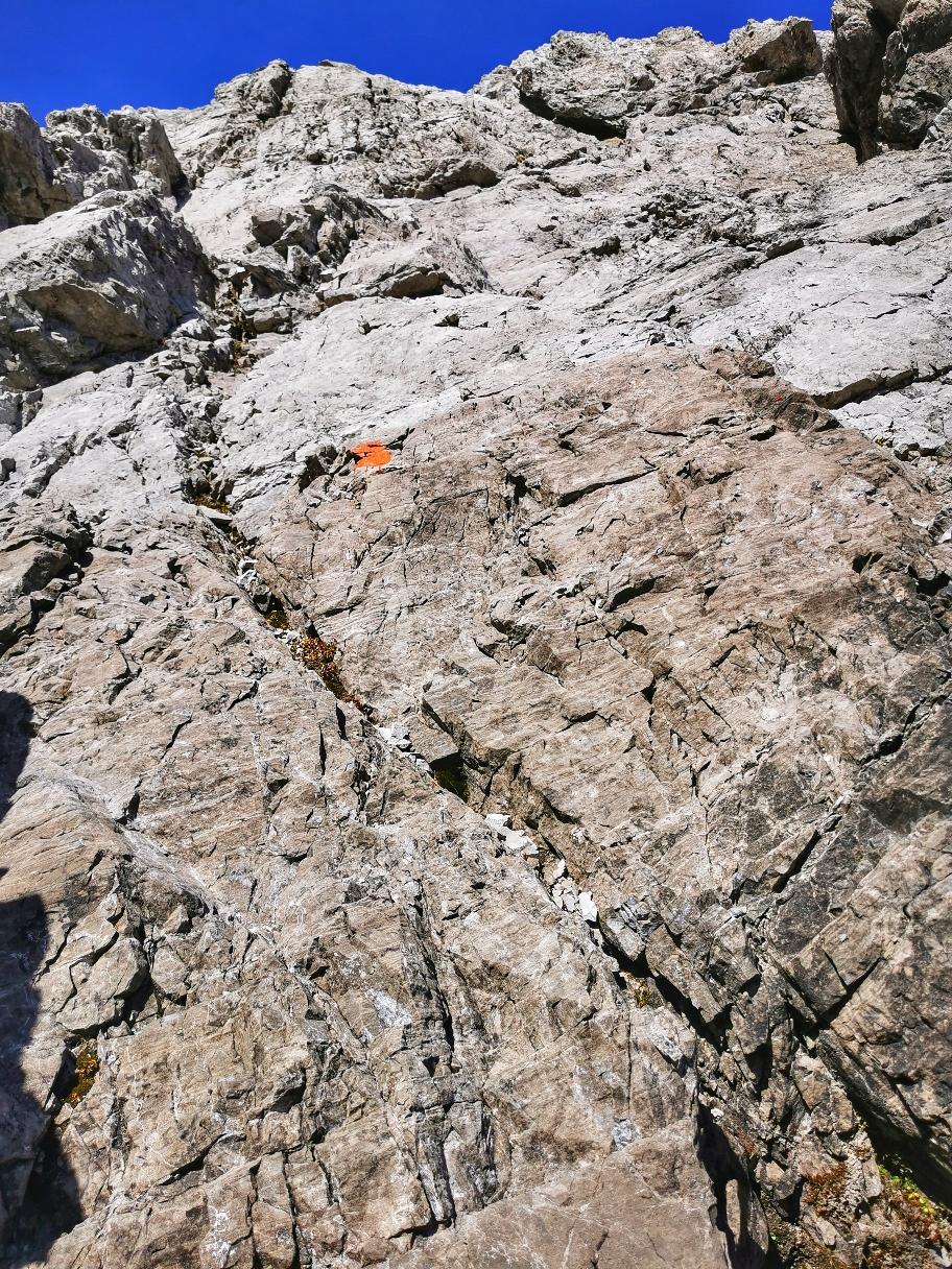Aufstieg auf die Mädelegabel, viele leichte Kletterstellen im 1. Grad