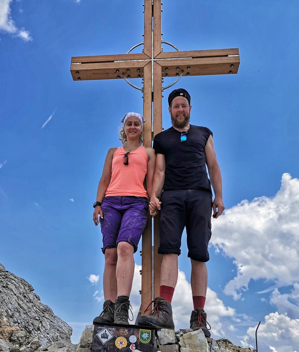 Am Gipfel der Weißspitze auf 2.714m