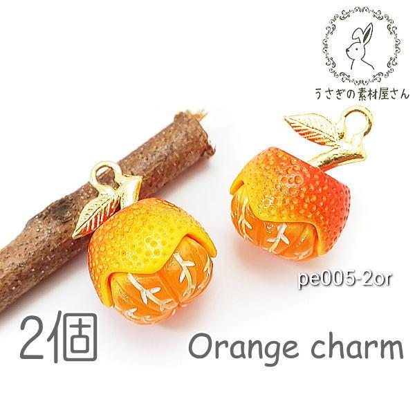 訳アリ チャーム オレンジチャーム みかん フルーツ charm 立体 パーツ 果物 2個/オレンジ/pe005-2or