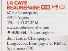 Guide des Cavistes, édition 2020, La Cave Beaurepaire coup de cœur de la RVF