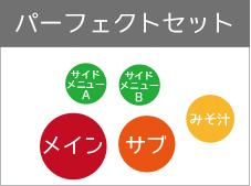 パーフェクトセット(メイン・サブ+サイド2品+みそ汁)