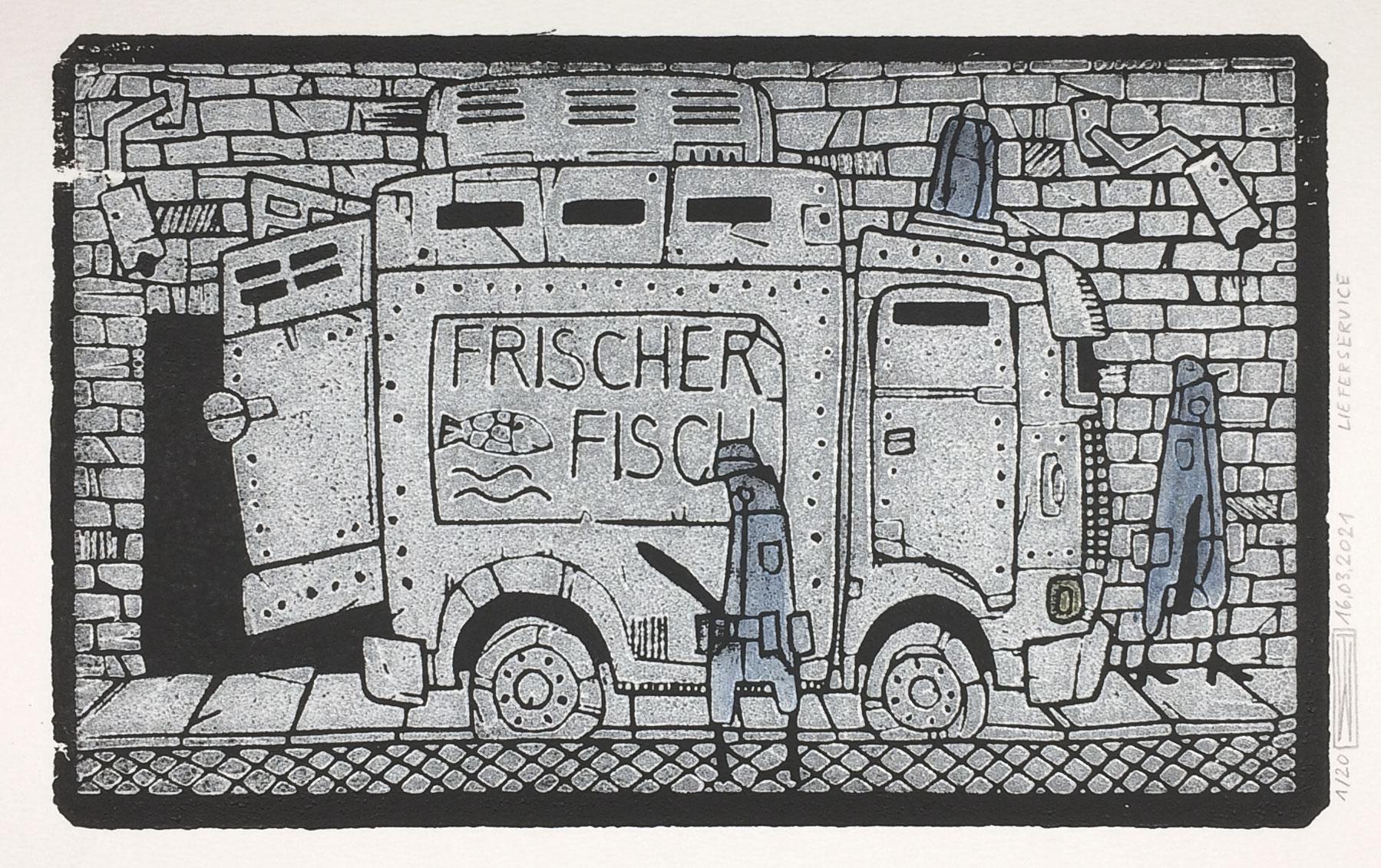 Lieferservice, Linoldruck, 21 x 13 cm