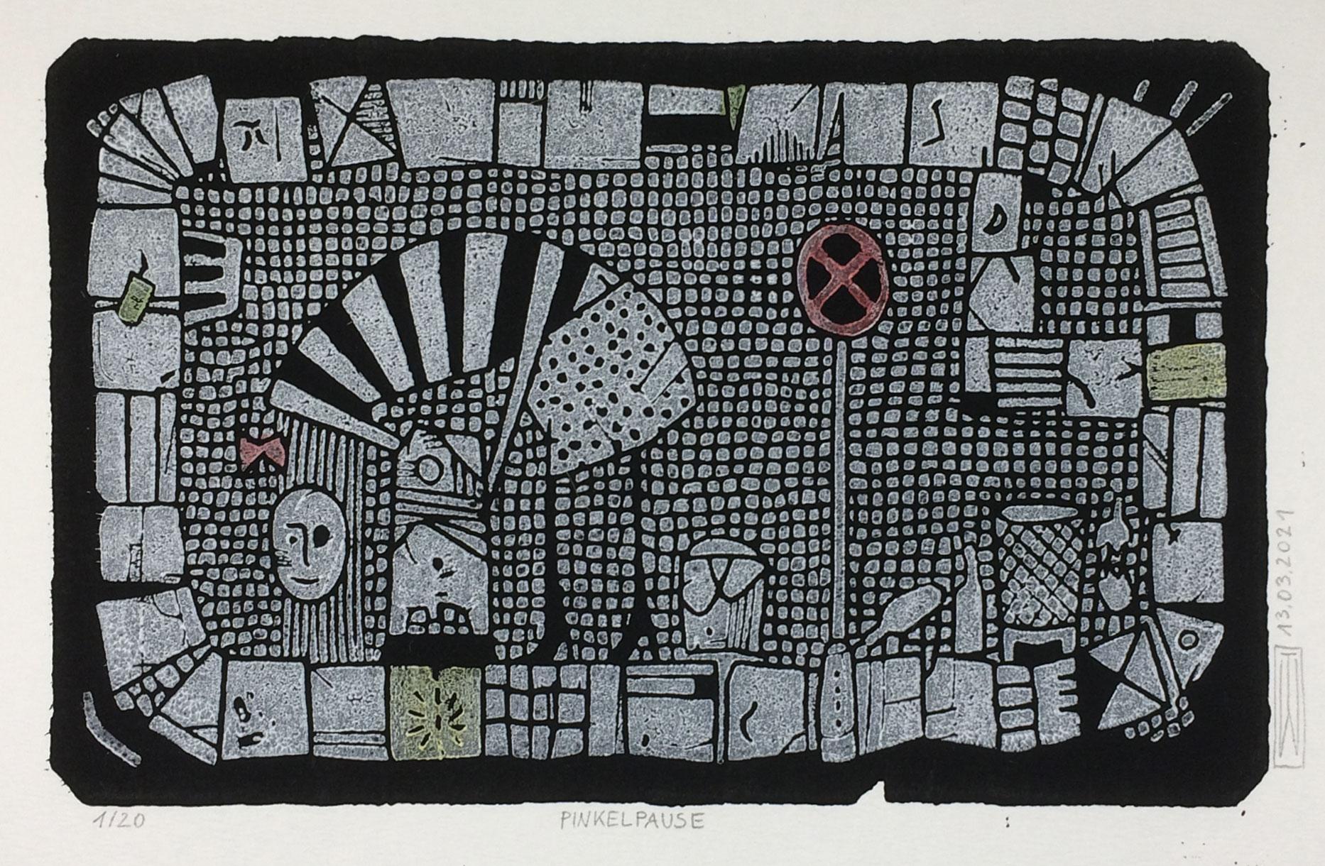 Pinkelpause, Linoldruck, 21 x 13 cm