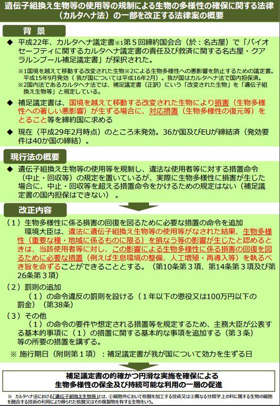 カルタヘナ法改正し罰則強化へ -...
