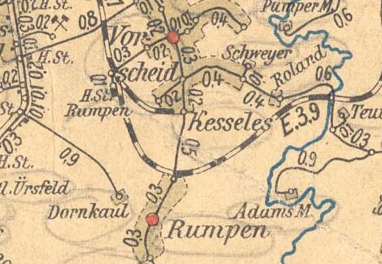 Ausschnitt Amtliche Entfernungskarte AC-Land 1906