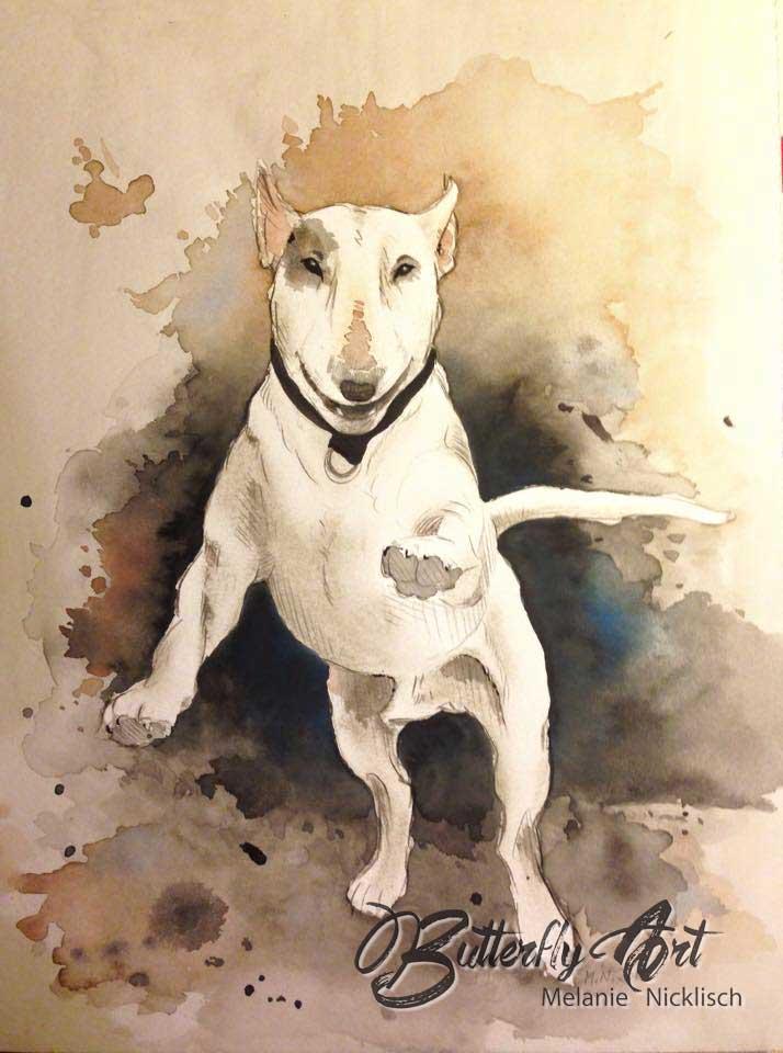 gemaltes Aqarellportrait mit Hund als Auftragsarbeit von Butterfly-Art Melanie Nicklisch