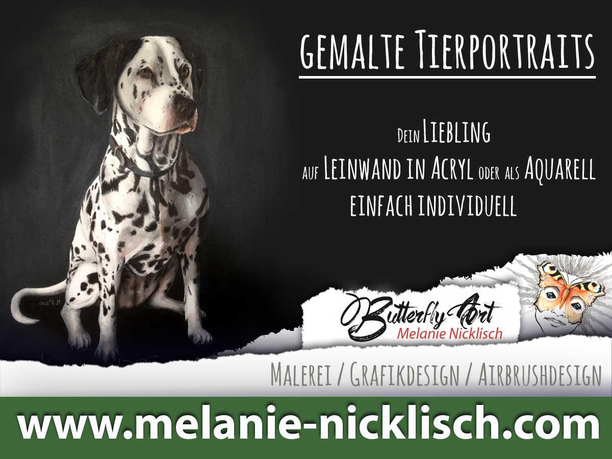 Maler Nünchritz, Riesa, Meißen, Großenhain, gemalte Tierportraits von Butterfly-Art Melanie Nickisch