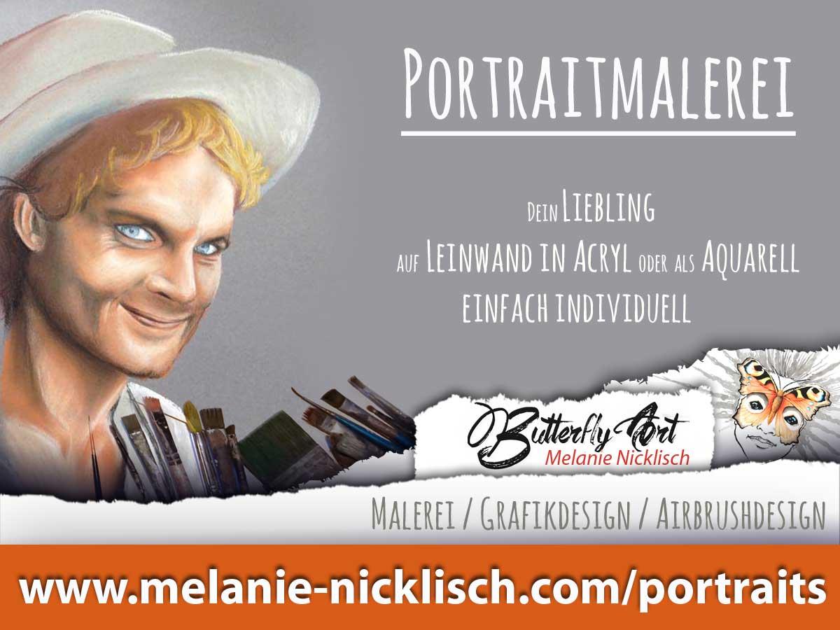 Portraitmalerei von Butterfly-Art Melanie Nicklisch