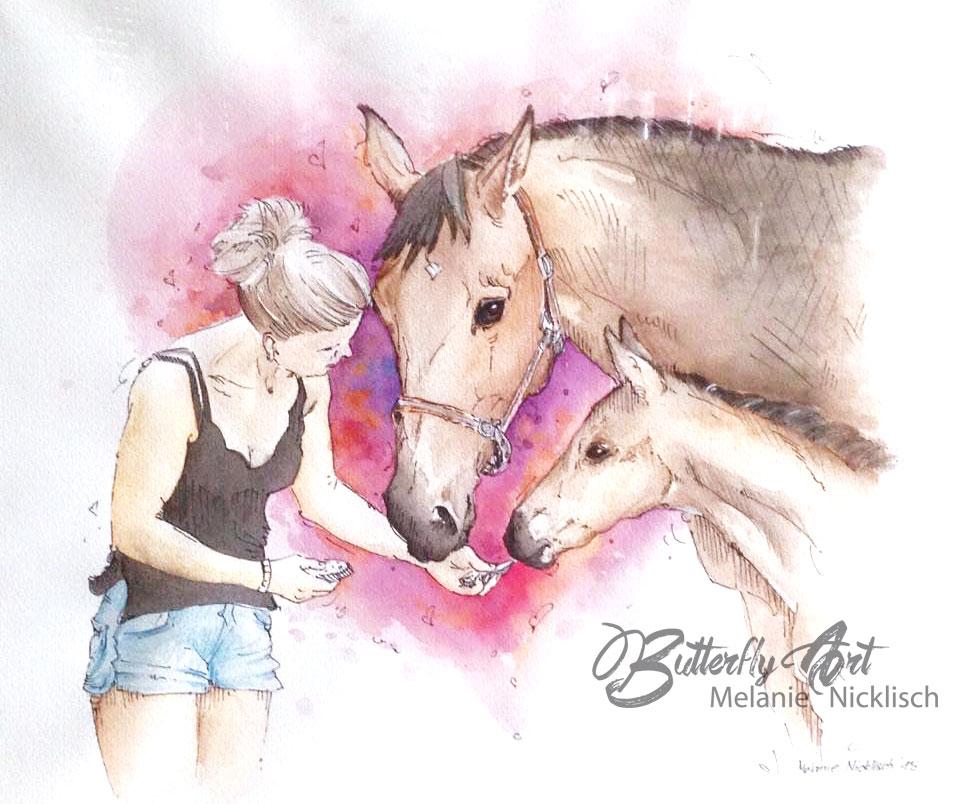 gemaltes Aqarellportrait mit Pferden als Auftragsarbeit von Butterfly-Art Melanie Nicklisch