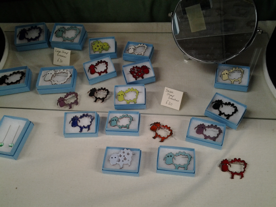 Adorable sheep brooches at the Wool Clip stand