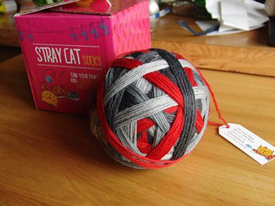Stray Cat Sock in colourway 'Revolution'