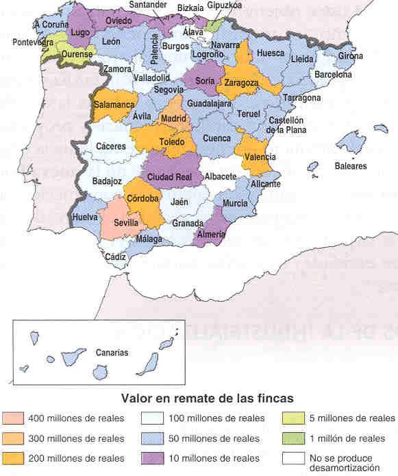 Mapa de la desamortització de Mendizábal