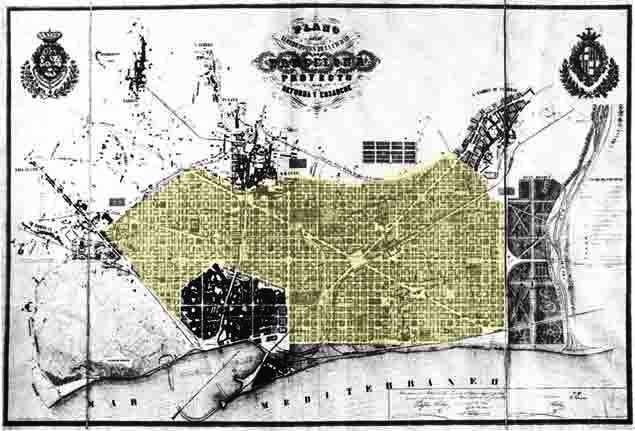 Plànol original del Pla Cerdà, per a l'Eixample de Barcelona