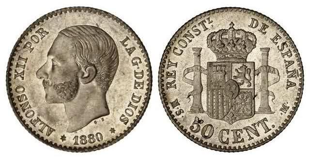 moneda amb l'efígie del rei Alfons XII